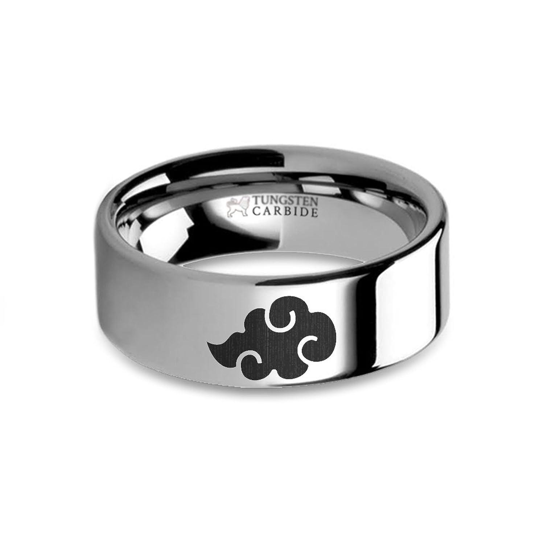 Hanover Jewelers Naruto Akatsuki Cloud Symbol Laser Engraved Engraver The Electronic Mercenary Tungsten Carbide Ring 8 Mm
