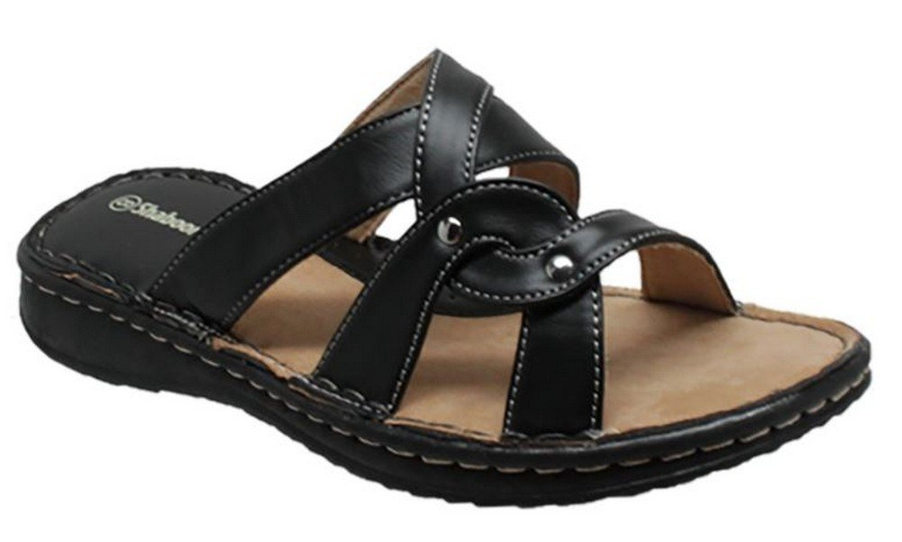 AdTec Women's Shaboom Comfort Sandal Slip-On PU Faux Leather Beach Shoe (9 D)
