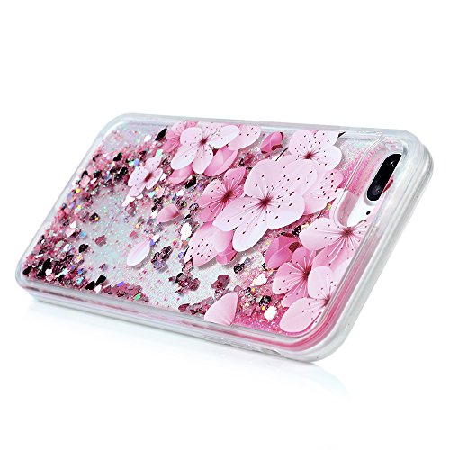 iPhone 7 Plus Case, Liquid Glitter Case Bling Shiny Sparkle Flowing Moving Love Hearts Cover Clear Ultral Slim Protective TPU Bumper Shockproof Drop Resistant Protective Case for iPhone 8 Plus KASOS by KASOS (Image #3)