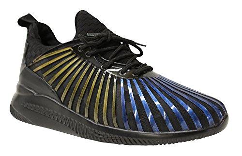 Javi Heren Geld Rubberen Streep Paneel Detail Mode Sneaker Blauw / Zwart