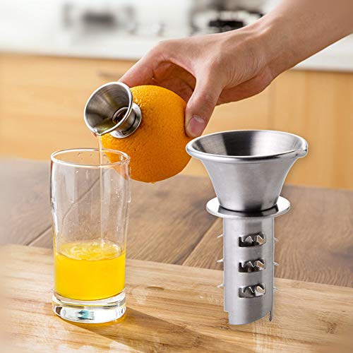 Maikouhai Manual Juicer, Stainless Steel Mini Portable Hand Handmade Fruit Lemon Lime Orange Citrus Press Extractor Squeezer Juice Cup - 7x4.5cm, Silver (Acme Ball Roller Orange)