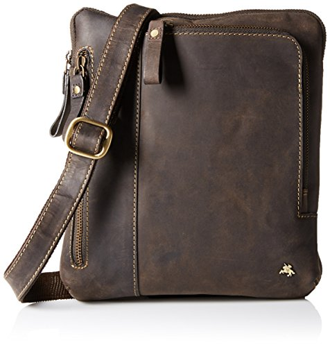 Visconti Leather Messenger Crossbody Bag Handbag For Ipad Or Tablet, Oil Brown, One Size by Visconti