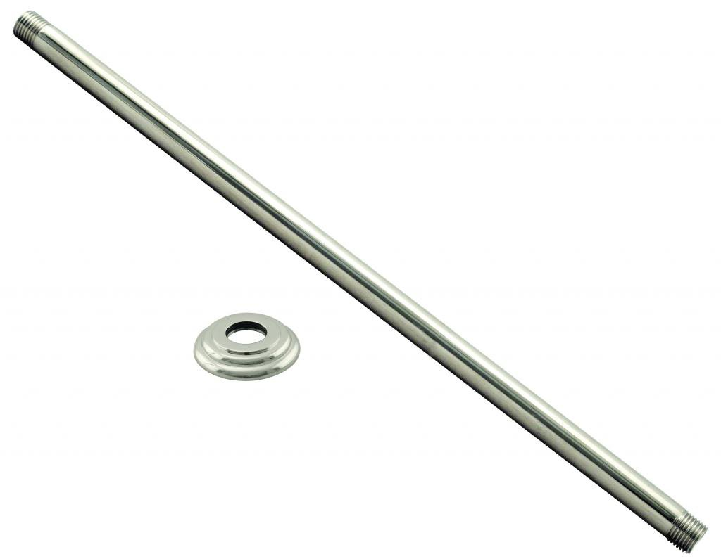 Westbrass 1/2'' IPS x 24'' Ceiling Mounted Shower Arm with Flange, Polished Nickel, D3624A-05