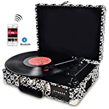 DIGITNOW! Vinyl / LP Record Player Wth Stylish Suitcase Turntable , Multi-function Bluetooth FM Radio, USB to MP3 Recorder / Player ,Win10&Mac PC Recording ,Rechargeable battery
