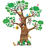 Decowall DL-1709 Giant Tree and Animals Kids Wall Decals Wall Stickers Peel and Stick Removable Wall Stickers for Kids Nursery Bedroom Living Room
