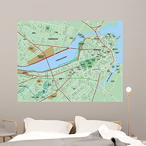 Boston Ma Downtown City Wall Mural by Wallmonkeys Peel and Stick Graphic (60 in W x 46 in H) - Ma Downtown