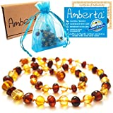 Amber Teething Necklace for Babies Amberta® - Anti Inflammatory, Immune System Boost, Teething Pain & Drooling Relief - 100% Pure Amber, Twist-in Screw Clasp, Handmade