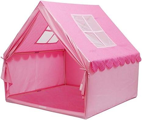 Kibten Dibujos animados, rosa, niñas pequeñas, niños pequeños Príncipes, castillo, tienda de campaña, casa de juegos grande, niños, tienda de campaña, lona portátil de algodón, niños de madera, sala d: Amazon.es: Hogar