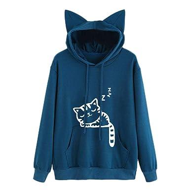 Sudadera con Capucha de Manga Larga con Estampado de Gatos para Mujer Blusa Camisetas Ropa Deportiva niña Chicas Amlaiworld: Amazon.es: Ropa y accesorios