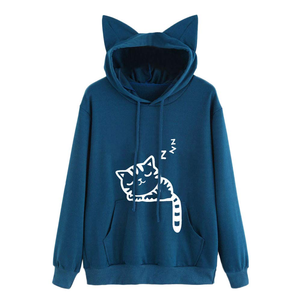 Kehen Fashion Women's Cute Cat Print Long Sleeve Hoodie Pullover Sweatshirt Top Blue US:4