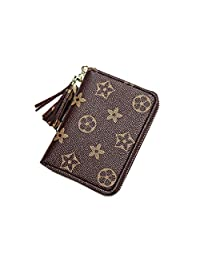 Women's wallet Leather Credit Card Holder Cute Tassel Coin Purse for Lady (coffee)
