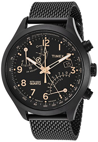 (Timex Men's TW2R55000 Intelligent Quartz Fly-Back Chronograph Black Stainless Steel Mesh Bracelet Watch)