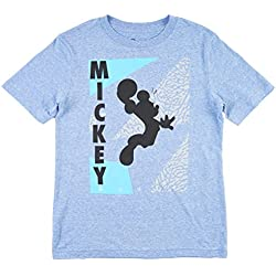 Disney Dunking Mickey Boy's T-Shirt in Heather Light Blue. M-XL.