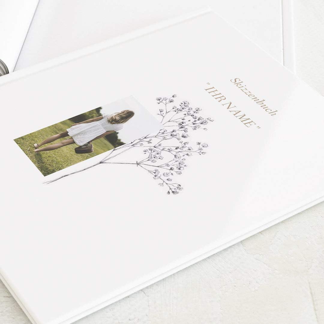 hochwertige Blanko-Innenseiten sendmoments Skizzenb/ücher personalisiert Ihrem Wunschbild f/ür K/ünstler 32 Seiten oder mehr Aquarell Ranken A4 Querformat Hardcover-Buch