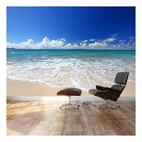 Large Wall Mural Gorgeous Beach and Clear Sea in Summertime Vinyl Wallpaper Removable Decorating