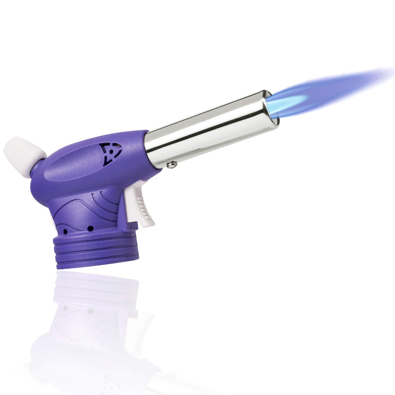 Creme Brulee Butane Torch - MFW Culinary Cooking Blazer Torch - Kitchen Food Scorch Torch with Safety Lock & Adjustable Flame for Cooking, Baking, BBQ (purple)
