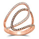 Diamond Jewel 10K Rose Gold 3/8 CT TW White and Champagne Diamond Fashion Ring