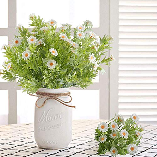 MHMJON 4pcs Artificial Daisy Flowers Bunches Fake Floral Bouquets Faux Plastic Greenery Plants Indoor Outdoor Home Kitchen Office DIY Hotel Table Centerpieces Decoration