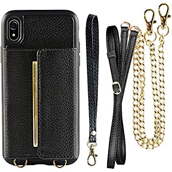 sports shoes d0e02 6ccbe Wallet Case for iPhone XR Card Holder Case with Crossbody Strap, ZVEdeng  Shockproof Wallet Case with Chain, Mini Crossbody Bag for iPhone XR - Black