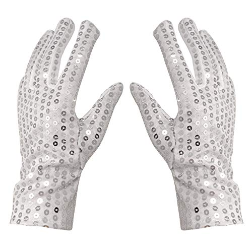 Honbay Silver Sparkling Sequin Gloves Michael Jackson Costume Gloves (Adult Size)