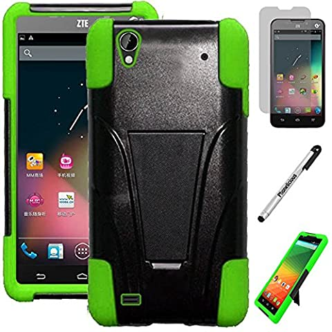 ZTE QUARTZ CASE, Phonelicious For ZTE QUARTZ Z797C (Straight talk) Heavy Duty Rugged Impact Armor Hybrid Kickstand Dynamic Verge Case Phone Tuff Cover + Premium Clear Screen Protector Combo & Phonelicious Stylus Pen (GREEN (Zte Quartz Case Green)