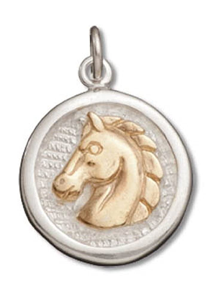Sterling Silver Girls .8mm Box Chain Round Medallion Gold Horsehead Pendant Necklace
