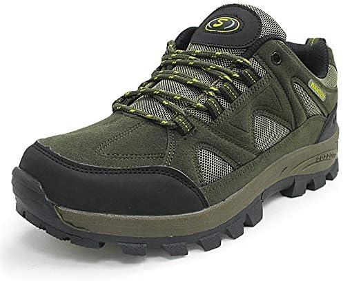 ローライズのハイキングシューズ男性通気ハイキングシューズトレーナーアンチアウトドアトレッキング登山動作させるための軽量のシューズスニーカースリップ (Color : Army green, Size : 42)