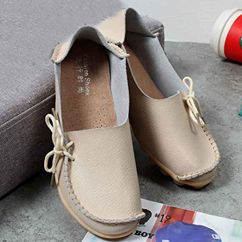 Transer Soft Ladies Leisure Flats Shoes, Women Slip on Casual Work Loafers,Comfortable Leather Lazy Shoes Beige