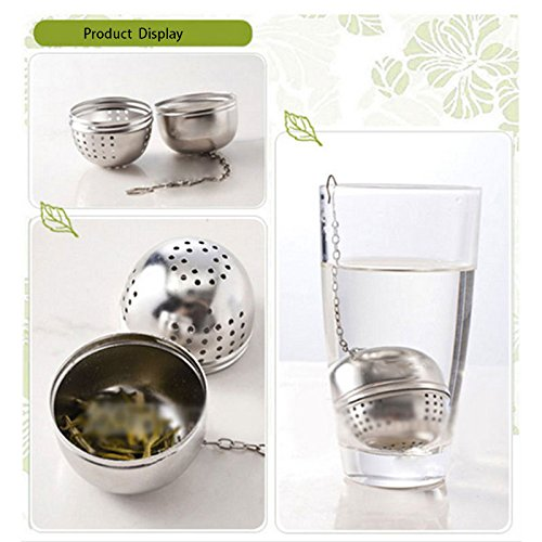 Funnytoday365 Stainless Steel Tea Infuser Strainer Tea Filter Tea Pot Accessories Tool For Kitchen Households Gadget Tea Ball by FunnyToday365 (Image #2)