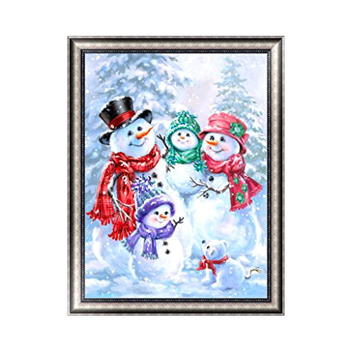 Misright Christmas Snowman DIY 5D Diamond Embroidery Painting Cross Stitch Home Decor Art