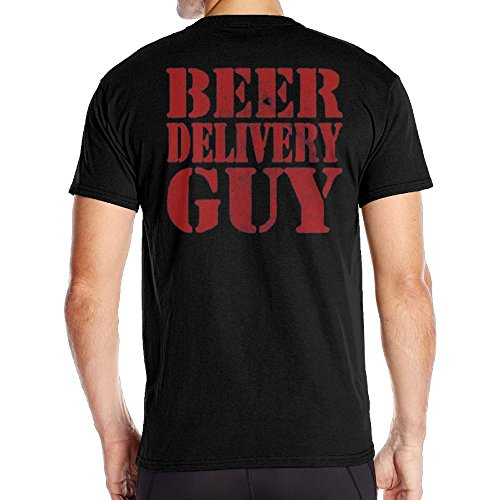 Achunlan Men's Short Neck Sleeve Beer Delivery Guy Cotton Back T-Shirt SizeKey1 Black (Beer T-shirt Delivery Guy)
