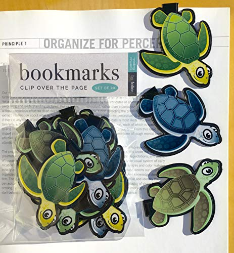 SEA Turtle Bookmarks - (Set of 20 Book Markers) Bulk Animal Bookmarks for Students, Kids, Teens, Girls & Boys. Ideal for Reading incentives, Birthday Favors, Reading Awards and Classroom Prizes!