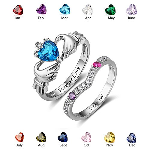 Personalized Claddagh Rings Set Simulate Birthstones Engagement Rings Set Silver Promise Rings Set (8)
