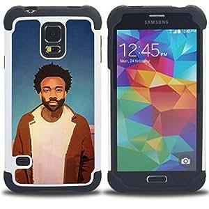 BullDog Case - FOR/Samsung Galaxy S5 I9600 G9009 G9008V / - / Chill Rasta Black Guy /- H??brido Heavy Duty caja del tel??fono protector din??mico - silicona suave