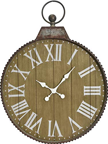 Oldtown Cluny French Country Style Old Classic Vintage Farmhouse Galvanized Zinc Frame Real Solid Fir Wood Wall Clock (Wood, 24 inch)