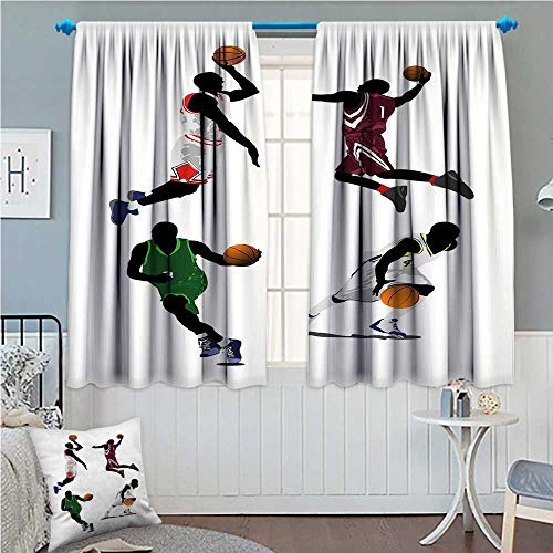 zojihouse Sports Window Curtain Fabric Basketball Players Dribbling Dunking Floater Vibrant Colored Uniforms Sportsmanship Multicolor 55