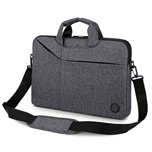 Laptop Bag,BRINCH Slim Water Resistant Laptop Messenger Bag Portable Laptop Sleeve Case Shoulder Bag Briefcase Handbag with Strap for Up to 15.6 Inch Laptop/NoteBook Computer Men/Women,Dark Grey by BRINCH (Image #8)