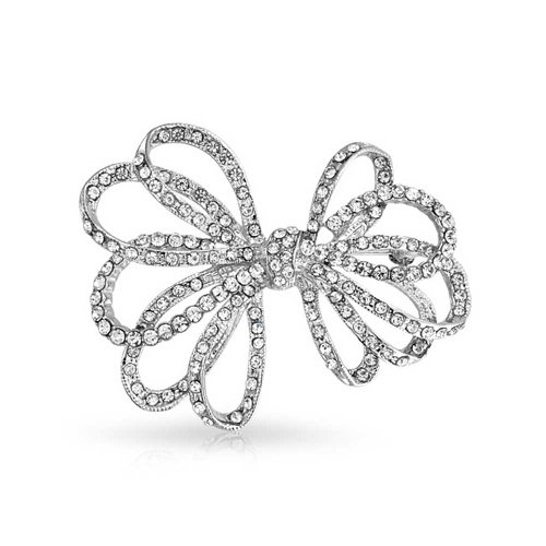 Bling Jewelry Bow Ribbon Shape Pave Crystal Wedding Bridal Brooch Pin for Women Silver Tone Rhodium Plated Brass