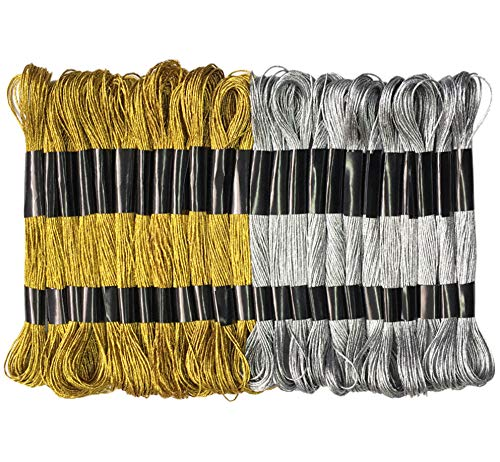 Gnognauq 24 Skeins Metallic Embroidery Machine Thread Kit Embroidery Floss-Cross Stitch Threads for Embroidery Embellishment Craft Needlework(Gold and Sliver)