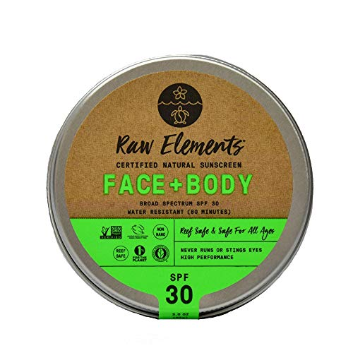 - Raw Elements Face and Body Certified Natural Sunscreen | Non-Nano Zinc Oxide, 95% Organic, Water Resistant, Reef Safe, Non-GMO, Cruelty Free, SPF 30+, All Ages Safe, Moisturizing, Reusable Tin, 3oz