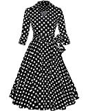 ZAFUL Women 1950s Vintage Dress 3/4 Sleeve V Neck Swing Party Dress With Bow Ribbon Belt(Polka Dot S)