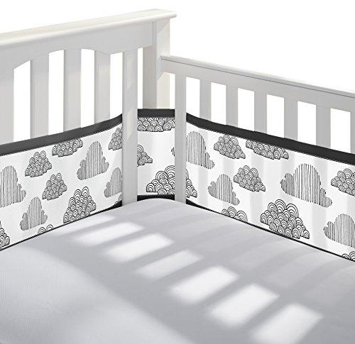 BreathableBaby Classic Mesh Crib Liner, Black (Black Crib Bumper)