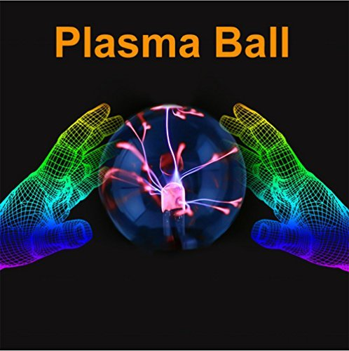 Juneslife Plasma Ball Lamp 6 inch 110V Static Ball Lamp Touch Sensitive Lightning Novelty Magic Plasma Crystal Ball for Office Cafe Bars and Festival Celebration Christmas Day Delivery in The USA