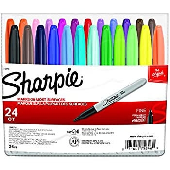 Sharpie 75846 Permanent Markers, Fine Point, Assorted Colors, 24 Count