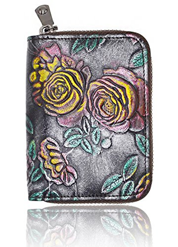 RFID Blocking Credit Card Holder for Women - Leather Zipper Card Case Minimalist Accordion Wallet Hand-Painted Color