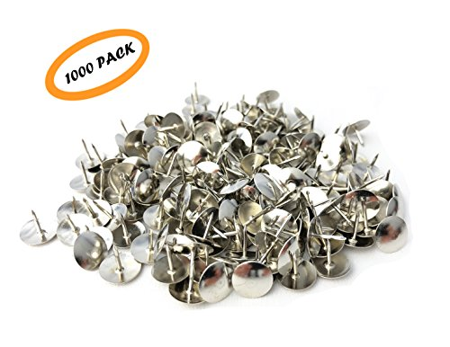 Thumb Tacks, Steel Thumb Tack, Silver Round Head Push Pins, Sharp Steel Points - Nickel-plated Silver - 1000 Pcs - Nickel Plated Steel Sharp