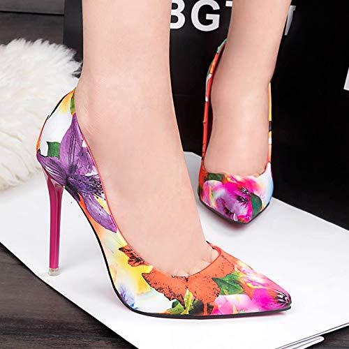 Fleur Sexy Chaussures Haut Femmes Bleu coloré Qiusa Pointu Bout Taille EU Pompes Rose Talon Imprimé 36 wpqttzA