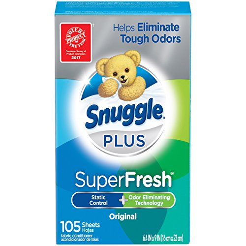 - Snuggle Plus Super Fresh Fabric Softener Dryer Sheets with Static Control and Odor Eliminating Technology, 105 Count (Packaging May Vary)