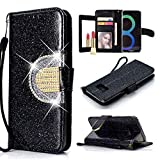 UEEBAI Wallet Flip Case for Galaxy S7 Edge,Glitter PU Leather Cover with Mirror [Diamond Buckle] [Card Slots] [Magnetic Clasp] Stand Function Gems Soft TPU Case for Samsung Galaxy S7 Edge - Black