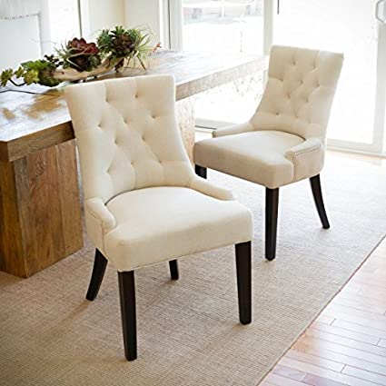 Amazon Janelle Beige Tufted Fabric Dining Chairs Set Of 40 Enchanting Patterned Dining Chairs
